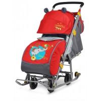 Санки - коляска Ника Детям 7 Девочка и слон (красный)