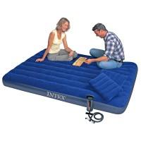 Надувной матрас-велюр Intex (152х203х22) + 2 подушки + ручной насос 68765