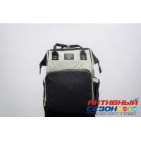 Сумка-рюкзак для мамы LeQueen с USB (Серый-черный) (ub 9)