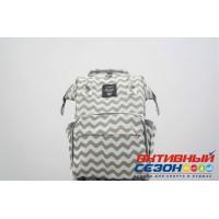 Сумка-рюкзак для мамы LeQueen (серый-белый, волна)