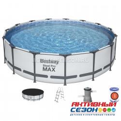 Бассейн каркасный Steel Pro Max 427  x 107 см (фильтр-насос, лестница, тент) 56950 Bestway