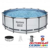 Бассейн каркасный Steel Pro Max 427х122см, 15232л, фил.-насос 3028л/ч, лестница, тент Bestway