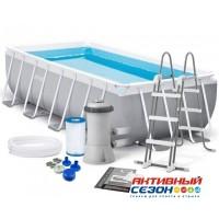 Каркасный бассейн Prism Frame Rectangular Pool 400х200х100см + аксессуары INTEX 26788
