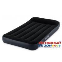 Надувной матрас-велюр Pillow Rest Classic Bed Intex черный с эл.насосом (99х191х25) 64146