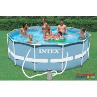 Бассейн каркасный Intex (366х122см)+насос-фильтр, лестница