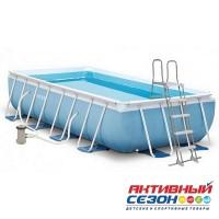 Бассейн каркасный прямоугольный Intex (300х175х80см)+насос-фильтр, лестница