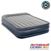 Двуспальная надувная Кровать Deluxe Pillow (152х203х42см) со встр.насосом 220В (64136)