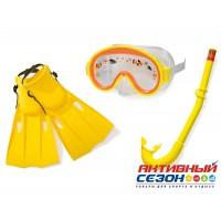 Набор для плавания Intex от 3 до 8 лет (маска+трубка+ласты на ремне) 55954