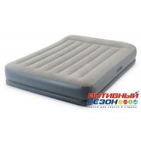 Надувная кровать с подголовником Intex с встроенным насосом 220В (152x203x30 см) 64118