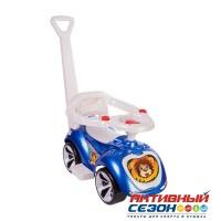 Каталка 809 Машина синяя с ручкой для катания детей, Лапка