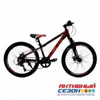 "Велосипед LORAK SHARK 24 BLACK (24""; скор. 6) (р-р: 113; Цвет: Matt Black/Red (черно-красный)) рама алюминий"