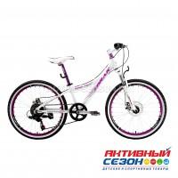 """Велосипед LORAK MAGIC 24 (24""""; скор. 7) (р-р: 13; Цвет: WHITE/PURPLE (бело-фиолетовый)) рама алюминий"""