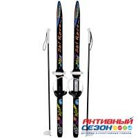 """Лыжи подростковые """"Ski Race"""" унив.крепление """"Цикл"""", с палками стеклопластик (120/95) 332447"""