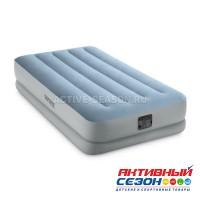 """Надувная кровать 99х191х36см """"Raised Comfort"""", встр.нас. 220В, до 136кг, Intex 64166"""