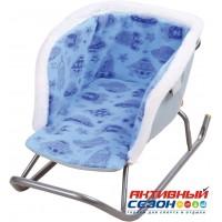Сиденье для санок МЕХОВОЕ универсальное СС2-2/3 голубой с планетами