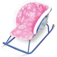 Сиденье мягкое на санки с мехом СС2-2 (Снежинки на розовом)
