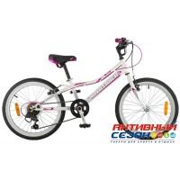 """Велосипед Novatrack Alice (20"""" 6 скор.) (Цвет: Розовый; Белый, Фиолетовый) Рама Сталь"""