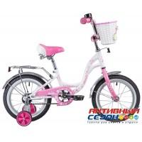 """0Велосипед Novatrack Butterfly 14"""" (2020) (белый-розовый; белый-фиолетовый)"""