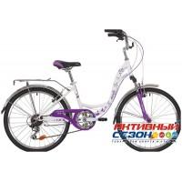 "Велосипед Novatrack Butterfly (24"" 6 скор.) (Р-р = 13""; Цвет: Белый/Фиолетовый) Рама Сталь"