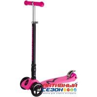 Самокат-кикборд Novatrack RainBow, подростковый, складной, свет. колеса (розовый)