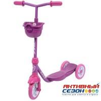 Самокат городской Foxx Baby с корзинкой, пластиковой платформой и EVA колесами 115мм (фиолетовый)