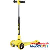 Самокат-кикборд Novatrack RainBow, подростковый, складной механизм на руле, широкие свет.колеса PU, Желтый, Розовый, Синий