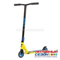 Самокат для детей NOVATRACK WOLF EL, PU колеса с алюминиевым ободом, жесткость PU 84A, abec7, черно-лимонный