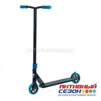 Самокат трюковый для детей NOVATRACK REPLAY BL, PU колеса 120 мм с алюминиевым ободом, жесткость PU 84A, abec7, стальной удлиненный Т-руль, черно-синий