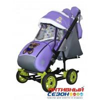 Санки-коляска Galaxy city 3-1 (Мишка в синем, фиолетовый)