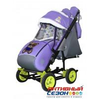 Санки-коляска Galaxy city 3-2 (Мишка в синем, фиолетовый)