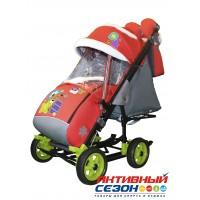 Санки-коляска Galaxy city 3-1 (Мишка со звездой, красный)