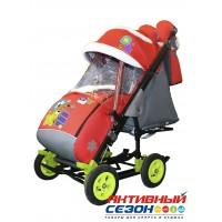 Санки-коляска Galaxy city 3-2 (Мишка со звездой, красный)