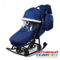 Санки-коляска Pikate Снеговик (Синий)