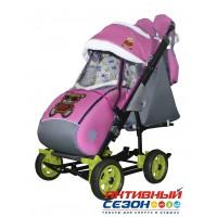 Санки-коляска Galaxy city 3-1 (Мишка в красном, розовый)