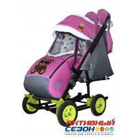 Санки-коляска Galaxy city 3-2 (Мишка в красном, розовый)
