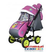 Санки-коляска Galaxy city 3-2 (Мишка со звездой, розовый)