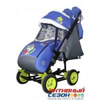 Санки-коляска Galaxy city 3-2 (Серый Зайка, синий)