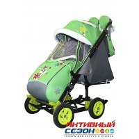 Санки-коляска Galaxy city 3-2 (Серый Зайка, зеленый)
