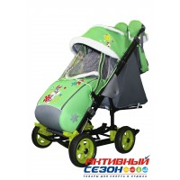 Санки-коляска Galaxy city 3-1 (Серый Зайка, зеленый)