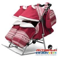 Санки-коляска для двойни Pikate Скандинавия TWIN (Бордо)