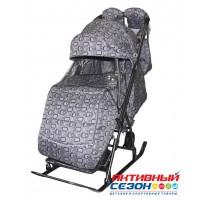 Санки-коляска Galaxy Kids 3-1 чемодан на сером