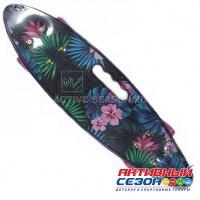 Скейтборд пластиковый Tech Team Fishboard 23 print (mini) (голубой, желтый)