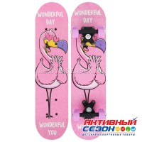 Скейтборд подростковый «Фламинго» 62 × 16 см, колёса PVC 50 мм, пластиковая рама