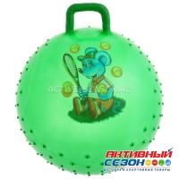 Мяч прыгун с ручкой массажный, d=65 см, 600 г, цвета МИКС