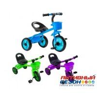 Трехколесный велосипед Мультяшка 518 (голубой, фиолетовый, зеленый)
