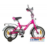 """Велосипед NOVATRACK Багира (12"""" 1 скор)  (Цвет розовый) Рама Сталь"""