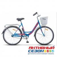 "Велосипед Stels Navigator 245 (Z010) (2020) (26""  1 скор.) (р-р =19""; Цвет: Синий / Красный) Рама Сталь + КОРЗИНА"
