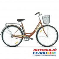 "Велосипед Stels Navigator 345 (Z010) (2020) (28""  1 скор.) (р-р =20""; Цвет: Коричневый) Рама Сталь + КОРЗИНА"