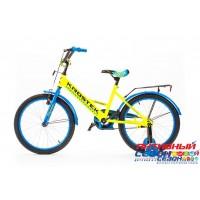 """Велосипед KROSTEK BAMBI GIRL (20"""", 1 скор.) (Цвет: Синий/желтый, синий/зеленый) Рама сталь"""