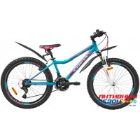 "Велосипед KROSTEK CRISTY 400 (24"", 21 скор.) (Р-р= 14"", Цвет: Синий-розовый) Рама сталь"